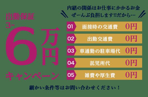 出勤保証3~6万円キャンペーン